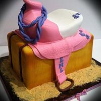 Pink, purple and white saddle