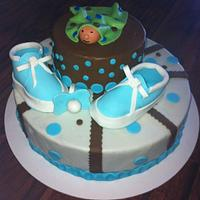 Brown and Blue baby shower cake