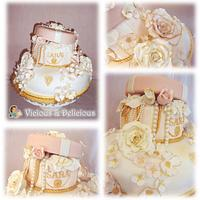 Shabby chic box cake by Sara Solimes Party solutions