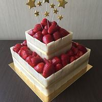 Half naked cake - marzipan and fresh strawberry