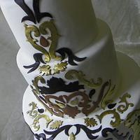 Damask scroll wedding cake by Erin Gardner