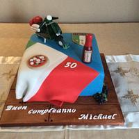 Amazing Italian Theme 50Th Birthday Cake Inside And Out Cake By Cakesdecor Personalised Birthday Cards Beptaeletsinfo