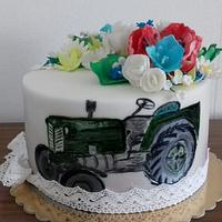 Folklore cake with old tractor