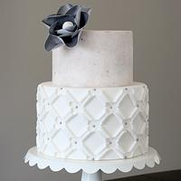 Concrete + Quilted Applique Cake