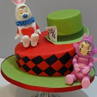 Alice in wonderland christening cake