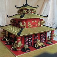 Chinese zodiac pagoda birthday cake