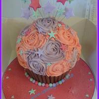 Giant Cupcake Pink & Purple Starburst