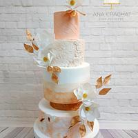 Coral textured Wedding Cake