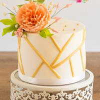 Frilled peony and eucalyptus wedding cake