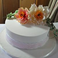 Peonies Cutting Cake by Calli Creations