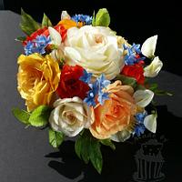 Colorful wafer paper bouquet