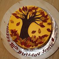 Falling leaves birthday cake