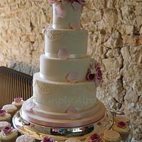 Dusky Pink roses and lace wedding cake