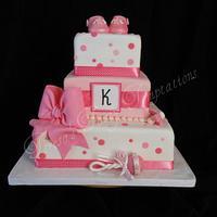 Pink modern baby shower cake