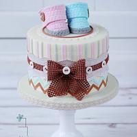 Vintage gender reveal cake