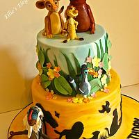 Lion King cake with characters made from icing  :)