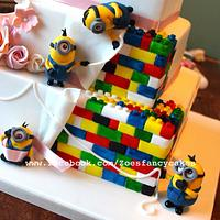 Minion and Lego themed wedding cake