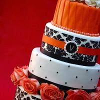 Black, White and Orange Damask