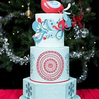Peacock Christmas Wedding cake