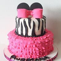 Pink & Zebra Minnie Cake