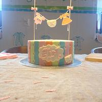 Pastel Colours Girl Baby Shower Cake