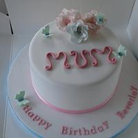 Birthday cake simple white with flowers