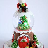 Snow Globe Christmas Cake