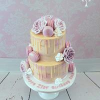 floral buttercream and drippy ganache cake