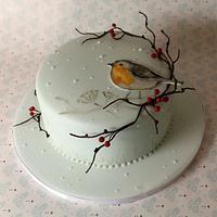 Hand painted Robin Christmas Cake