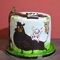 Freehand painted cake
