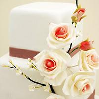 Roses and blossom branches wedding cake by Nadya