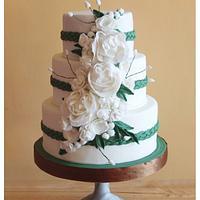 Emerald Green and White Wedding Cake