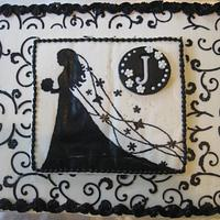 Black and White Bridal shower cake