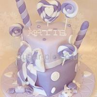 Purple candy heart cake