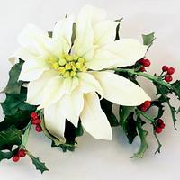 Poinsettia and Holly Christmas Arrangement