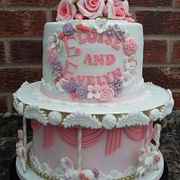 Carousel Christening cake for Twins