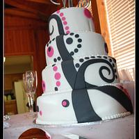 Funky Pink and Black Wedding Cake