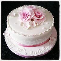 Vintage rose and lace birthday cake