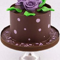 Dark Chocolate and Purple Polkadot Collar with Chocolate Roses