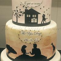 A story in cake - (engagement cake)