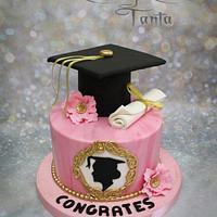 Pink &Gold Graduation Cake