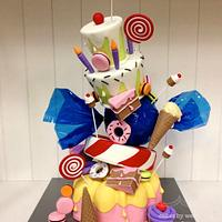Topsy turvy candyland themed cake by weennee