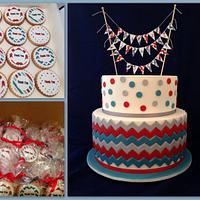 Boys Christening/Birthday cake and cookies
