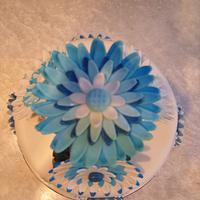Blue daisy wedding cake by Niknoknoos Cakery