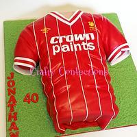 Vintage Liverpool football (soccer) shirt cake