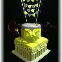 "Yellow and Grey Reveal Cake!  ""What will it Bee"""