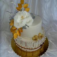Wedding cake with tea rose