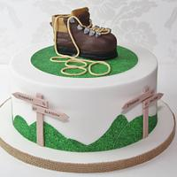 Walking theme birthday cake