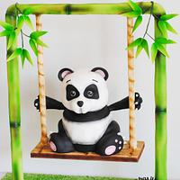 Gravity defying panda cake