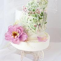 Translucent painted Wildflowers cake
